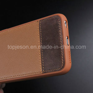 Khaki with Brown Genuine Leather Case for iPhone 6 Plus pictures & photos