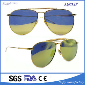 Classic Full Mirror Lens Pilot Metal Frame Sportsman Sunglasses pictures & photos