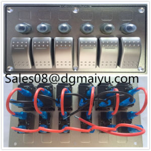 6 Gang LED Boat Caravan Circuit Rocker Switch Panel Aluminum Combination Switch pictures & photos