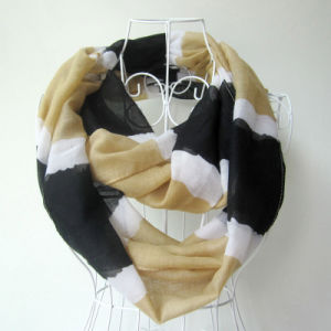 Lady Fashion Striped Printed Polyester Voile Infinity Scarf (YKY1094) pictures & photos