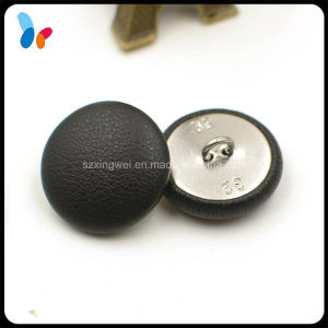 Genuine Black Leather Covered Metal Shank Button pictures & photos