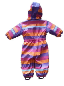 PU Stripe Conjoined Raincoat/Overall for Children pictures & photos