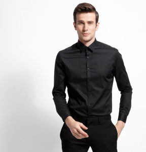 Black Slim Fit Dress Shirt for Men pictures & photos