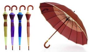 16 Ribs High Quality Strip Border Wooden Shaft Umbrella (YS-SM26163454R) pictures & photos