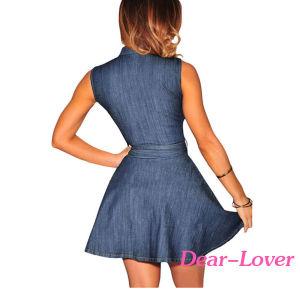 Fashion Dark Denim Belted Skater Mini Dress pictures & photos