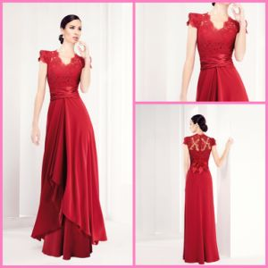 Red Chiffon A-Line Evening Prom Party Gown Lace Bridesmaid Dresses Z5077 pictures & photos