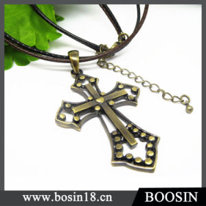 Vintage Bronze Cross Statement Leather Chain Necklace Pendant pictures & photos