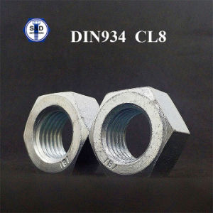 DIN934 Class8 Structure Nut Cr+3 Zinc Plated Finish Hex Nut