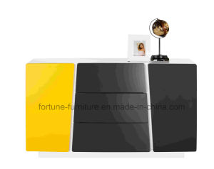 Wooden UV High Gloss White&Yellow Sideboard (Thinking 301)