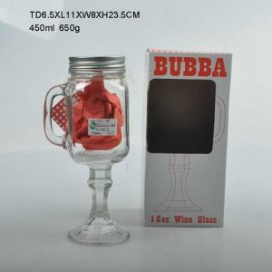 Glass Mason Jar with Stand and Handle