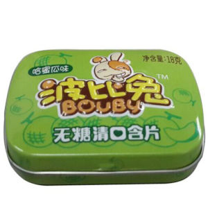 High Quality Printed Small Higed Lid Metal Chewing Gum Box