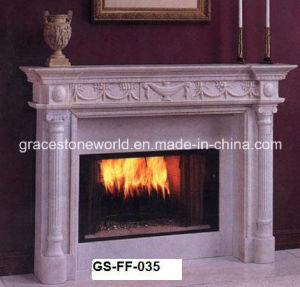 Marble Carved Fireplace with Lion Head Decoration pictures & photos