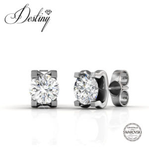 Destiny Jewellery Crystal From Swarovski 925 Sliver Caring Stud Earrings