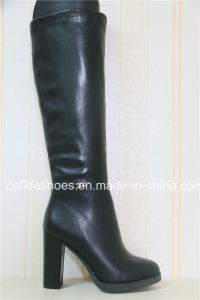 Thick Comfort High Heels Women Leather Rubber Boots pictures & photos