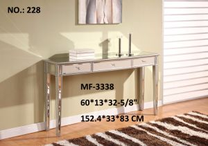 Console Table 3 Drawers Clear Mirror Silver Leaf Wood Frame pictures & photos