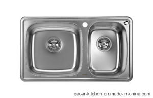 Cacar Stainless Steel Kitchen Sink with Double Bowls (CCL-7845C) pictures & photos