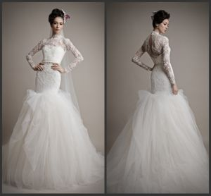 White Wedding Dress Long Sleeves Mermaid Bridal Wedding Gown Wdo87 pictures & photos
