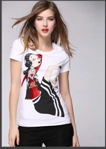 Latest Fashion Round Neck Short Sleeve OEM Design Women′s T-Shirt pictures & photos