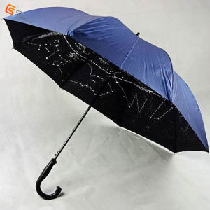 J Handle Auto Open Inner Print Golf Umbrella