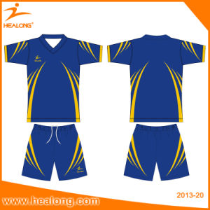 Healong 100% Polyester Dye Sublimation Soccer Referee Shirts pictures & photos