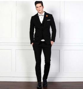 Men′s Slim Fit Business Black Suit pictures & photos