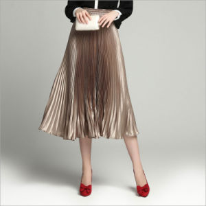 Champagne All-Match Long Pleated Skirt pictures & photos