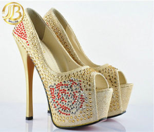2015 New Sale Fashion High Heel Peep-Toe Diamond Lady Shoes