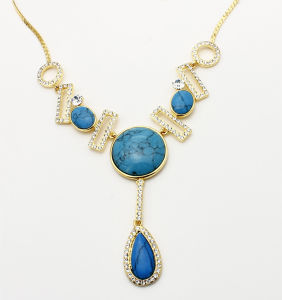 Wholesale Zinc Alloy Gold Plating Resin Stone Fashion Jewelry Necklace pictures & photos