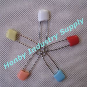 40mm Double Lock Plastic Head Stainless Steel Baby Diaper Pin