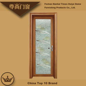 Sandalwood Color Brown Mirror Flower Glass Decoration Aluminium Casement Door pictures & photos