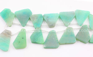 Green Cracked Agate Irregular Slabs Gemstone Beads (SL72869)