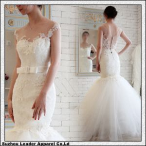 Jewel Neck Wedding Gown Mermaid Tulle Bridal Wedding Dress Ld11612 pictures & photos