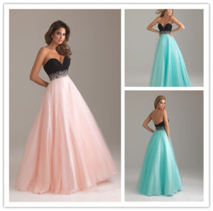 2014 Sexy A Line Sweetheart Sleeveless Empire Waist with Beaded Sash Floor Length Satin and Tulle Party Dress (HS083)