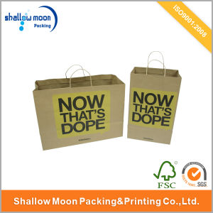 Engilsh Kraft Paper Shopping Bag with Handle (QY150048) pictures & photos