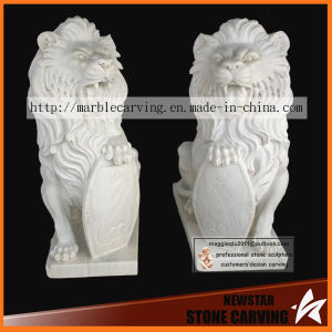 White Carrara Stone Carving Lions, Kings of Animal pictures & photos