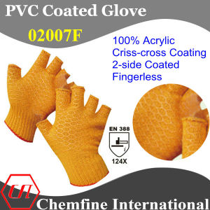 10g Orange 100% Acrylic Fiber Knitted Fingerless Glove with 2-Side Orange PVC Criss-Cross Coating/ En388: 124X pictures & photos