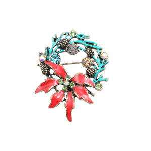 New Style Beautiful Red Blue Enamel Christmas Tree Surround Inlay More Color Semi-Precious Stones Girl Texture Brooch Corsage
