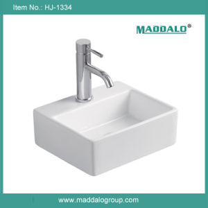 Small Ceramic Hand Sink, Rectangular Wall Hung Sink (HJ-1334)