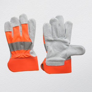 Cow Split Leather Palm Cotton Back Glove (3031) pictures & photos