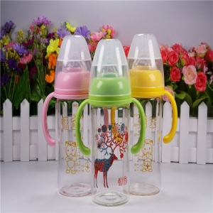 240ml Crystal Diamond Baby Glass Bottle with Handle pictures & photos