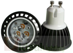 LED GU10 3X1w Spotlight 100-240V Black Aluminum High Power pictures & photos