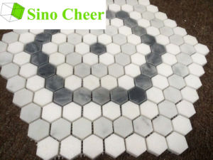 Colored Hexagon Carrara Grey and White Mosaic Floor Tile pictures & photos