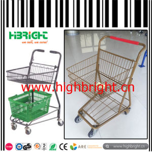 Metal Frame Double Basket Shopping Trolley for Grocery Store pictures & photos