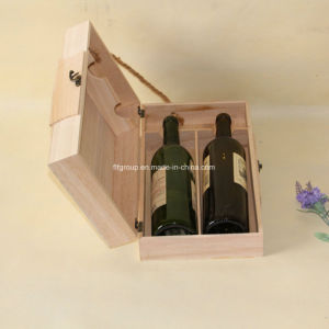 New Design Round Shape Customized Wooden Wine Storage Box in Natural Color pictures & photos