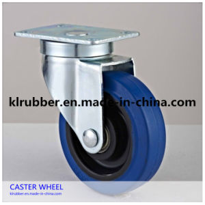 Blue Elastic Rubber Wheel Caster Wheel with Brake pictures & photos