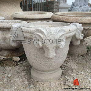 Granite Garden Flower-Pot / Stone Planter with Sheep Carving pictures & photos
