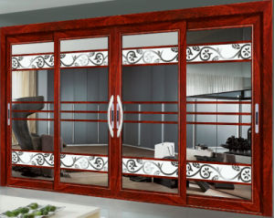 Anti Theft Aluminum Alloy Double Glass Sliding Door pictures & photos