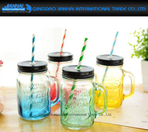 Colored Juice Bottle Glass Cup with Lid and Handle pictures & photos
