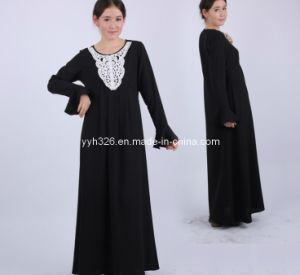 Latest Muslim Arab Dubai′s Fashionable Robe Collar Islamic Clothing Abaya
