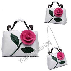 Unique Designe PU Handbags with Flower
